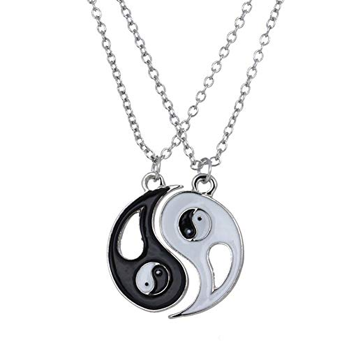 2 Pcs/Set Fantastic Best Friends Ying Yang Necklaces Taiji Bagua Charm Pendant Jewelry for Lovers