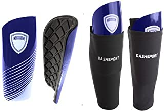 DashSport Soccer Shin Guards Youth Includes Two Shin Guards and Two Compression Calf Sleeves with Pockets