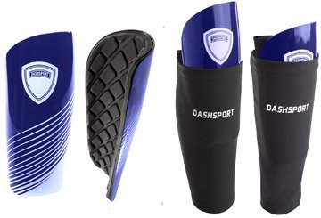 DashSport Soccer Shin Guards Youth Includes Two Shin Guards and Two Compression Calf Sleeves with Pockets (Blue, Small (Youth))