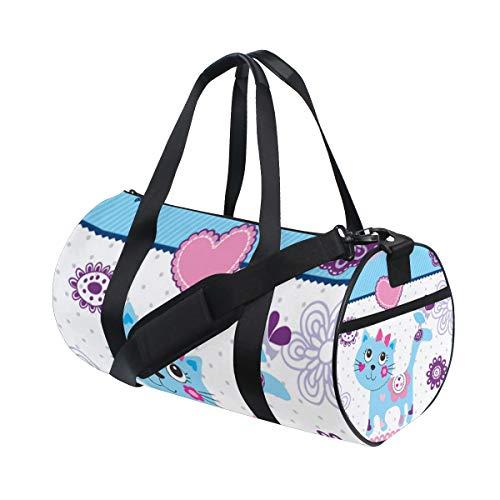 ZOMOY Sporttasche,Niedliche kleine Katzen Vogel Einladungs Karte,Neue Druckzylinder Sporttasche Fitness Taschen Reisetasche Gepäck Leinwand Handtasche