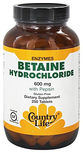 Country Life Betaine Hydrochloride with pepsin 600 mg - 250 Tablets
