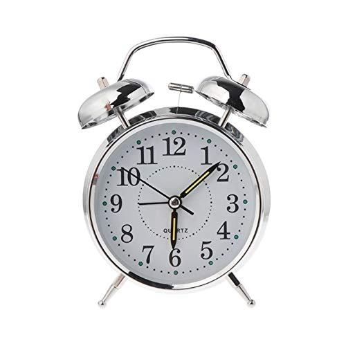 yywl Reloj Despertador Desktop Retro Mecánico Reloj de Alarma Luminoso Luz de Noche Twin Bell Silent Metal Dormitorio Digital (Color : 2)