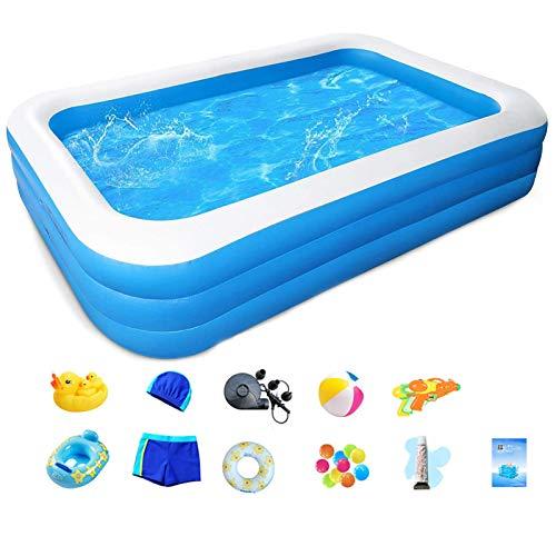 LKOPYUo Piscina inflable familiar, piscina inflable plegable transparente, piscina familiar engrosada de tamaño completo para niños, familia, adultos, jardín, patio trasero, fiestas acuáticas de veran