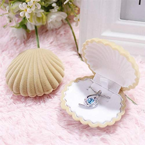 Bazhahei Collar Shell Personalized Jewelry Box Necklace Box Anillo Collar Pendiente Caja Terciopelo Regalo ExhibicióN Joyero Caqui