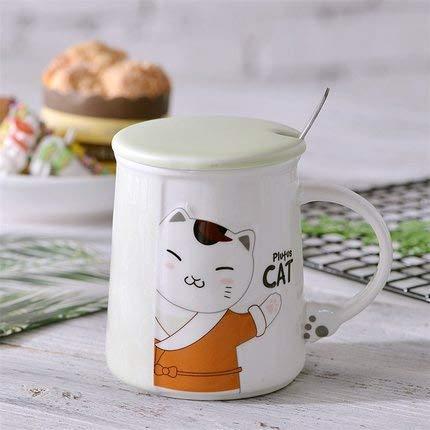 Becher Einfache Paar Tasse Mit Löffel-kaffeekasse Milchbecher Kater Keramik-tasse Große Kapazität Wasserbecher 301-400ml pro
