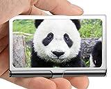 Estuche para tarjetas de visita, caja de tarjeta de visita con soporte para tarjeta de visita animal panda animal (acero inoxidable)