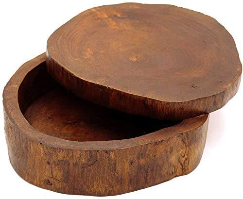 Gedeko Holzdose Holzschachtel mit Deckel rund oval Teakholz braun ca. 17 cm