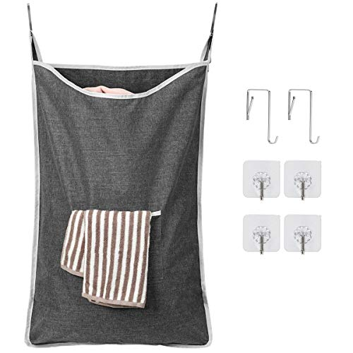 Amazonブランド] Umi.(ウミ) ランドリーバッグ バッグ 折り畳み式 巾着袋 ランドリーバスケット 洗濯物入れ 収納ポーチ 深灰