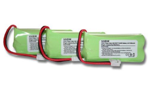 vhbw 3X Batería Recargable Compatible con Philips Xalio 300, 300 DECT teléfono Fijo o inalámbrico (600 mAh, 2,4 V, NiMH)