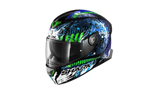 Astone Helmets SHARK, Casco Integrale Skwal 2.2 Replica Switch Ridders 2 KBG Nero Blu Verde S