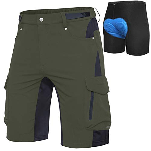 Cycorld MTB Hose Herren Fahrradhose, Schnelltrocknende MTB Shorts Herren Mountainbike Hose Baggy Bike Shorts, Atmungsaktiv Radhose mit Verstellbaren Klettverschlüssen (Grün+Blaue Pad, XL)