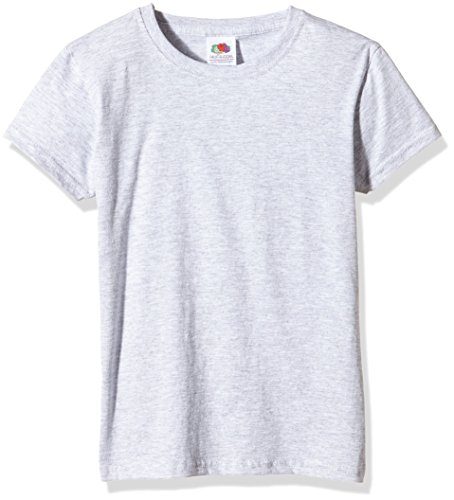 Fruit of the Loom Mädchen Valueweight T-Shirt, Grau (Heather Grey), Gr. 7-8 Jahre (128 cm)