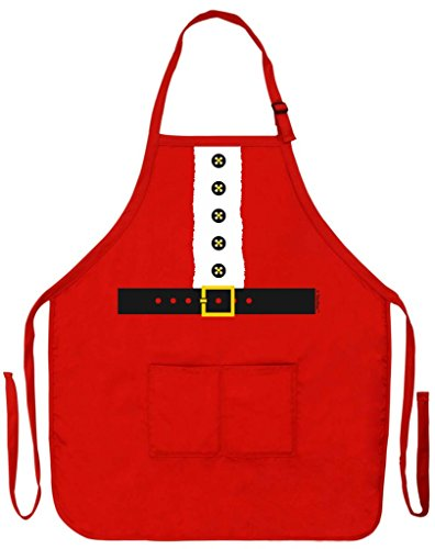 Santa Apron Mrs Claus for Kitchen Cooking Baking Crafting Two Pocket Apron Red