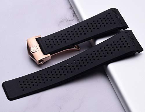 RSB Horlogeband voor Horlogeband Siliconen Band 22 24mm Waterdichte Rubber Horlogeband Vervang Polshorloge Riem Accessoires (Band Kleur: Roze, Band Breedte : 22mm)