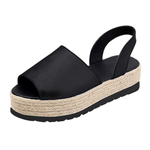 STRIR Sandalias Mujer Verano 2019 Plataforma Tacones de cuña Correa de Tobillo Zapatos con Punta Abierta