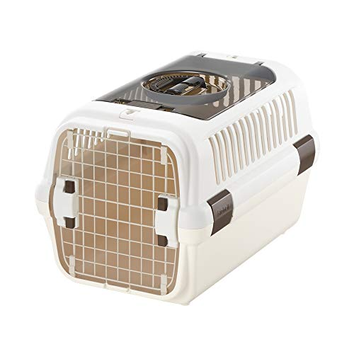 Price comparison product image Richell Double Door Pet Carrier Medium,  Travel Carrier for Small Dog and cat,  up to 17.6 lbs,  White / Beige (80024)