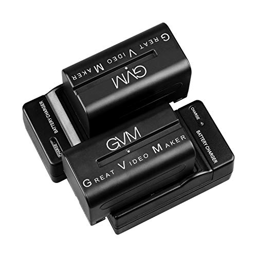 GVM 2 Pack NP-F750/770 Battery and Charger 4400mAh for Sony NP-F975, NP-F960, NP-F950, NP-F930, NP-F770, NP-F750, NP-F550, DCR, DSR, HDR, FDR, HVR, HVL and LED Light