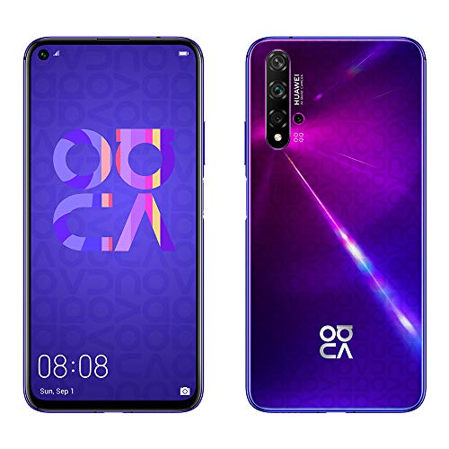 Smartphone Huawei Nova 5T - 6.26'(6 GB RAM, 128 GB di memoria interna, fotocamera AI Five da 48 MP, display FullView, sensore di impronte digitali laterale, 3750 mAh) Dual-SIM, colore viola