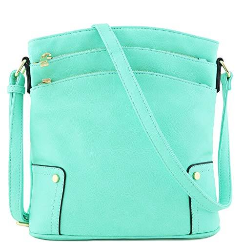 Triple Zip Pocket Large Crossbody Bag (Mint)