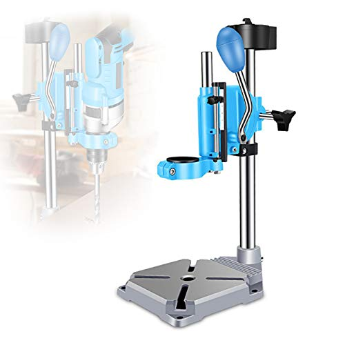 EnweMahi Drill Stand Rotatable, DIY Bench Drill Press 38-44mm Clamping Height Adjustment, Bench Clamp Drill Press 9mm Expansion Slot Cast Iron Base,A
