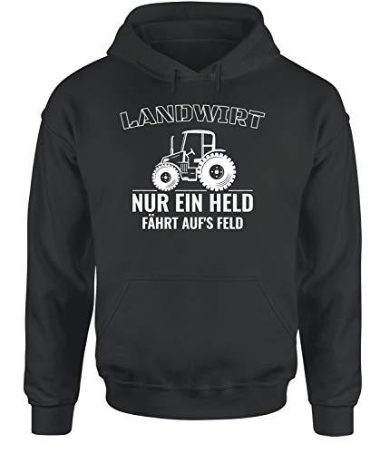 tshirtladen Landwirt Nur EIN Held fährt aufs Feld! Hoodie Unisex XS - 3XL, Farbe: Dunkelgrau, Größe: Xx-Large