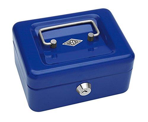 Wedo 14510 - Caja para dinero (15,2 x 11,5 x 8 cm, 4 compartimentos), color azul