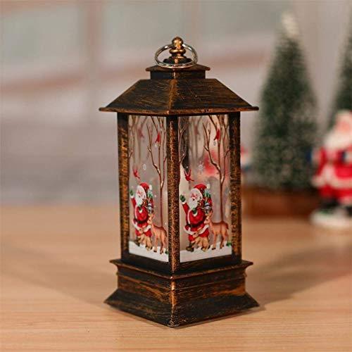 Bumplebee Weihnachtsdeko, Vintage Kleine Öllampe LED Laterne, Tragbare Hängende Teelicht Simuliert Kerzen, Weihnachten Lichterkette Licht Simulation Flammenlicht (D)