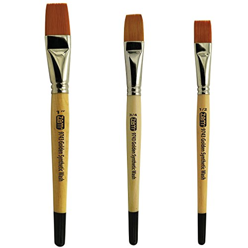 ZEM Brush Student Golden Synthetic Brushes Wash/Glaze Set Sizes 1/2', 3/4', 1'