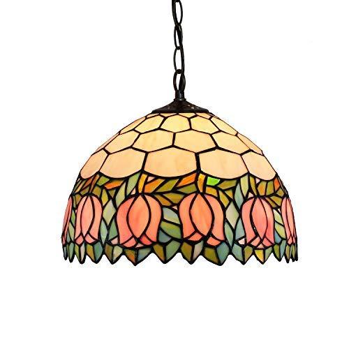 Tiffany Luces pendientes 12 pulgadas de jardín de estilo europeo de la lámpara colgante Tiffany Idílico Tulip luces Luz pendiente de cristal de montaje for el dormitorio Oficina Restaurante Café