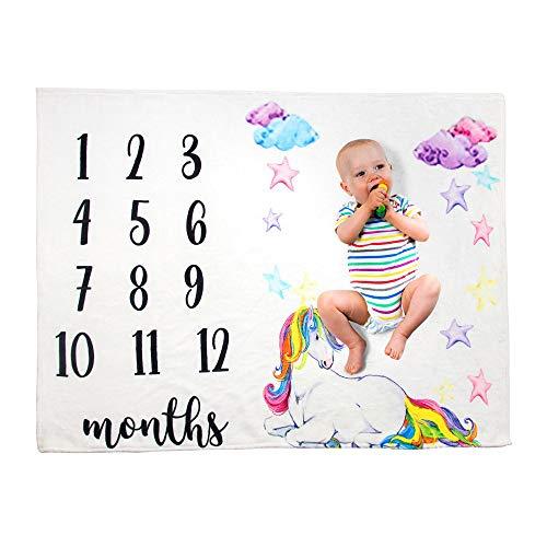 FZ FUTURE Nouveau née Couverture de Props de Photographie, Baby Props imprimé Coton Mensuel Milestone Wrap Swaddle Couvertures, Cadeau de Shower de bébé,A