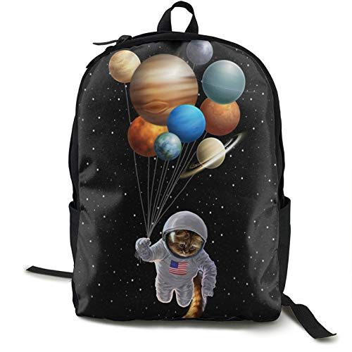 Pulchrumcs Galaxy Cat Astronaut Holding Planet Balloon Backpack School Bag For Women Boys Girls Casual Shoulder Bag Rucksack for Elementary/Middle/High School Student