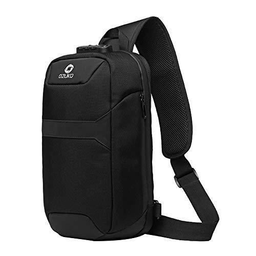 OZUKO Sling Backpack USB Anti-Theft Men'S Chest Bag Casual Shoulder Bag (Black 2)