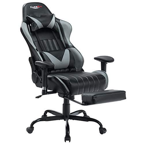 Kasorix Gaming Stuhl -Schreibtischstuhl mit Massage-Lordosenstütze, Ergonomischen Ledersesseln für den Home Office-Rennstil mit Verstellbaren Armlehnen und Abnehmbarer Kopfstütze (Grau)