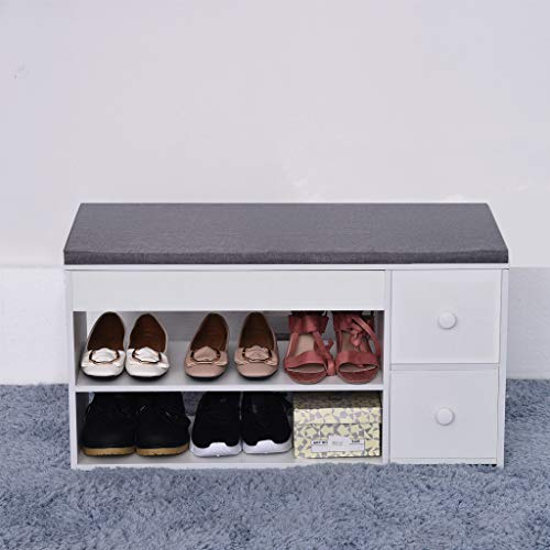 Shoe Cabinet, Tier Shoes Bench Entryway Storage Creative Shoe Rack Sofa Stool Multifunctional Nordic Storage Stool With Two Drawers Simple Shoes Shelf lkoezi (80x30x42cm, Warm White)