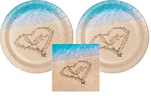 Beach Love Party Bundle 10 Plates (16) Napkins (16)