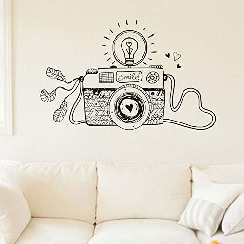 zqyjhkou Sonrisa Creativa Bombilla 3D cámara Pegatinas de Pared diseño de Dibujos Animados decoración del hogar Sala de Vinilo calcomanías Yy235 67x42 cm