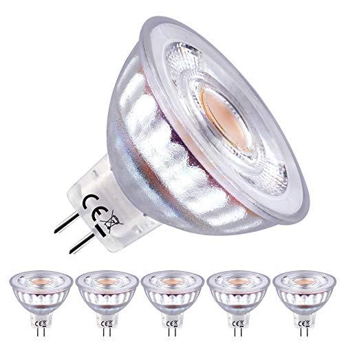 EACLL Bombillas LED GU5.3 2700K Blanco Cálido MR16 12V 5W 460 Lúmenes Equivalente 50W Halógena. Sin Estroboscópica, 36 ° Luz Blanca Cálida Spotlight LED, Pack de 5