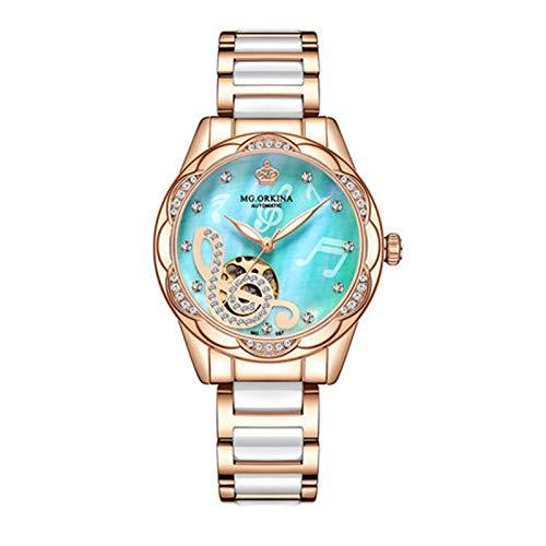 SKYWPOJU Relojes de Pulsera para Mujer, Automático, Mecánico, Resistente Al Agua, Pequeño Reloj Verde, Correa de Cerámica, Relojes de Moda, Relojes para Mujer (Color : Blue)