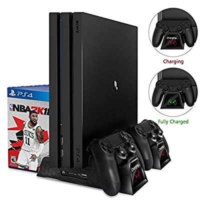 Multifuctional Vertical Stand for PS4/PS4 Slim/PS4 Pro with Cooling Fan/Games Storage/Dual Charging Station for Playstation 4