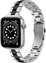 Slim Metal Band Compatible with Apple Watch Series 6/5/4/3 38mm 40mm, CAGOS iWatch Strap Stainless Steel Link Bracelet Replacement for Women Girls Men (Black Silver, 38mm/40mm)