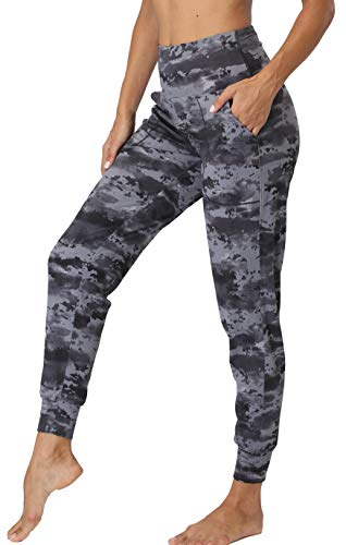 Oalka Women's Joggers High Waist Yoga Pockets Sweatpants Sport Workout Pants Black Flake Ice XS