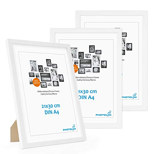 Photolini Set di 3 cornici per Foto da 21x30 cm DIN A4 Modern Bianco in MDF con Vetro Acrilico, Accessori Inclusi Collage Foto Galleria Fotografica