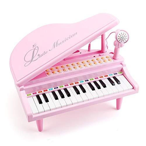 Amy&Benton Kinder Keyboard Spielzeug Rosa, 31 Tasten, Spielzeug Keyboard mit Mikrofon, Pink Multifunktionale Klavier für Kleinkind, Kinder und Baby