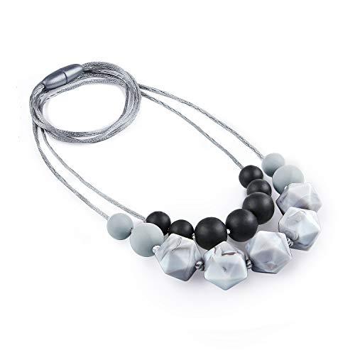 Zahnen Halskette, Yuccer Silikon Kauen Halskette für Mutter zu Tragen, Baby Beißring Spielzeug für Zahnen Schmerzen Linderung, BPA Frei, Baby Dusche Geschenk (Grau)