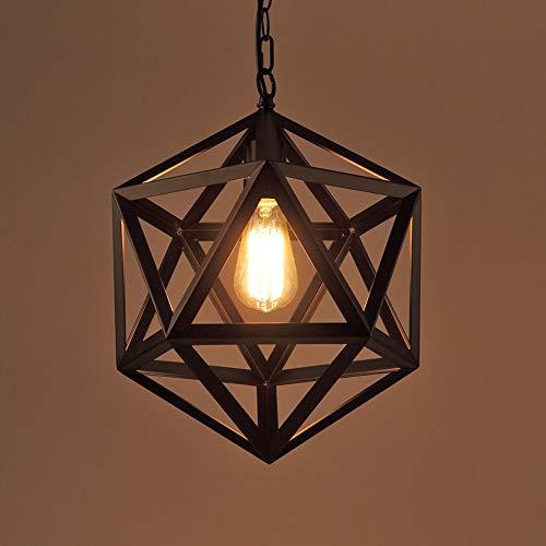 Rishx Industrial Retro arañas de techo de hierro forjado negro luces de techo E27 Edison Vintage poliedro lámpara colgante comedor restaurante diamante Esfera iluminación