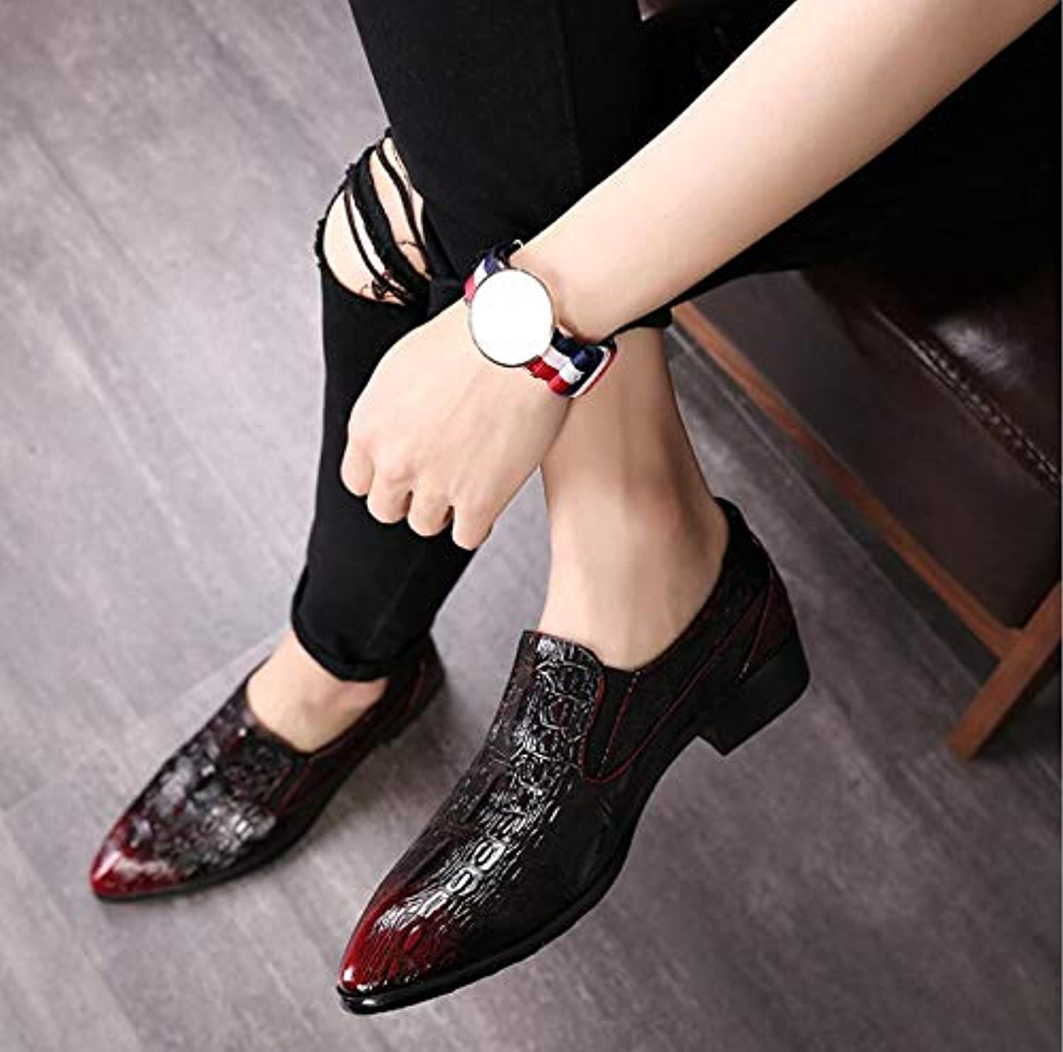 LOVDRAM Men'S Leather shoes Big Size New Men Dress shoes Fashion Man Full Grain Genuine Leather shoes Social Sapato Male Oxfords Flats shoes 6.5 As Pic