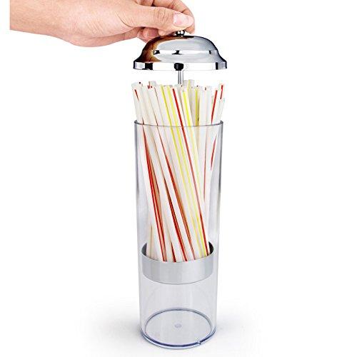 Dispensador de paja de plástico transparente creativo dispensador de pajita – Organizador de paja de 11 pulgadas Contaienr con tapa de acero inoxidable para encimera de cocina … (plástico/21 cm)