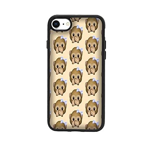 Funda Carcasa compatible con Apple iPhone 7 Whatsapp emoticon de mono pequeño no habla / Vuelos de aluminio con goma en los lados. / TPU antideslizante anti-scratch resistente a los golpes resistente