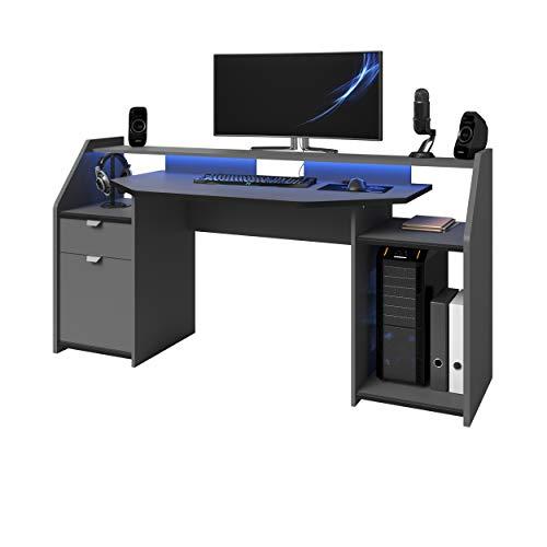 Parisot Computer Gamer Schreibtisch Set Up Grau Carbon