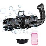 SPECOOL Maquina Burbujas Niños, Gatling Bubble Machine de 8 Agujeros, Pistola de Burbujas Juguetes para Niños y Niñas, Máquina de Pistola de Burbujas, Juguetes 2021 para Niños(Negro)